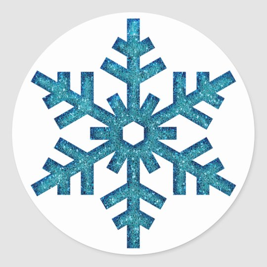 Faux Glitter Snowflake Christmas SticG Classic Round Sticker