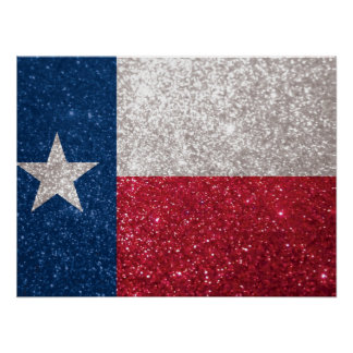 Faux Glitter Texas flag Poster