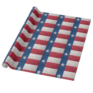 Faux Glitter Texas flag Wrapping Paper