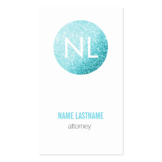 Faux Glitter Turquoise Monogram Profile Card Pack Of Standard Business Cards