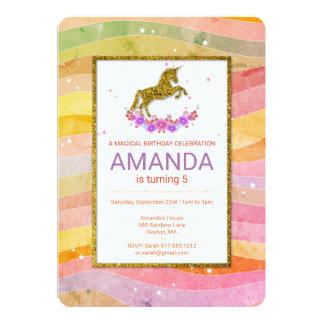 Faux Glitter Unicorn Stripes Birthday Invitation