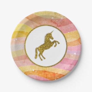 Faux Glitter Unicorn Stripes Paper Plate