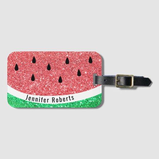 faux glitter watermelon design luggage tag