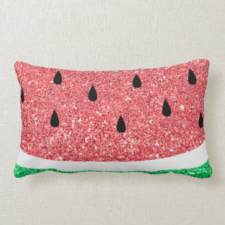 faux glitter watermelon slice cute summer design lumbar cushion