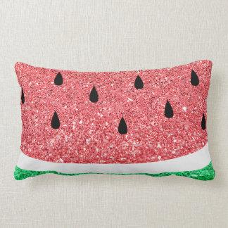 faux glitter watermelon slice cute summer design lumbar pillow