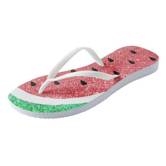 faux glitter watermelon slice flip flops