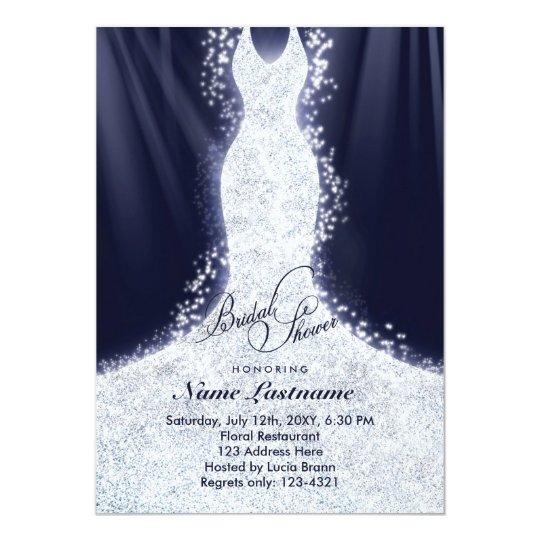 Faux Glitter Wedding Gown Bridal Shower Invite