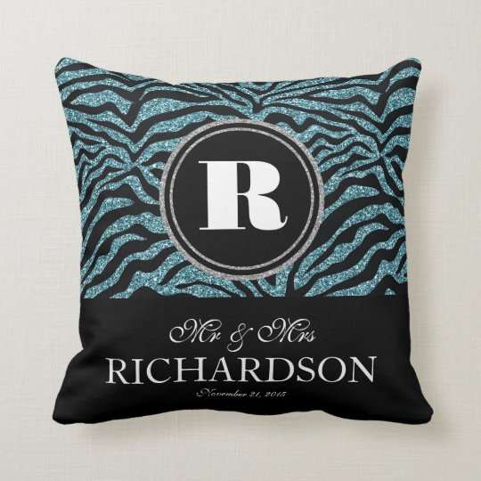 Faux Glitter Zebra Monogrammed Mr and Mrs Cushion
