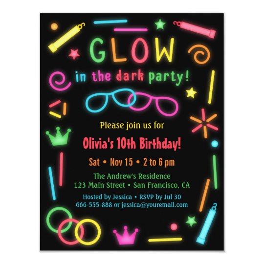 Faux Glow In The Dark Birthday Party Invitations Zazzle