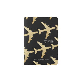faux gold airplanes on black, feminine travel passport holder