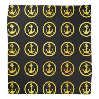 Faux gold anchors on black bandana