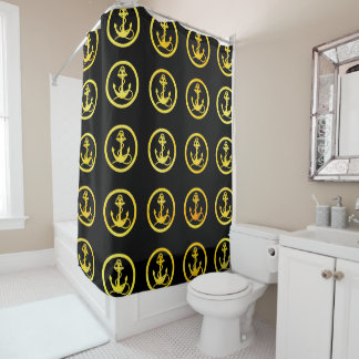 Faux gold anchors on black shower curtain