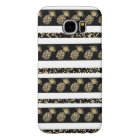 Faux gold and black polka dots pineapple stripe