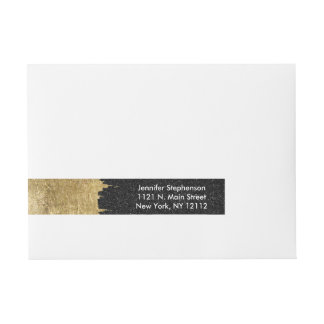 Faux Gold and Black Starry Night Brushstrokes Wraparound Address Label