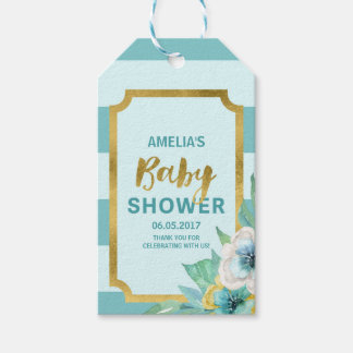Faux Gold and Mint Floral Baby Shower