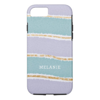 Faux Gold and pastel lavender teal stripes iPhone 8/7 Case