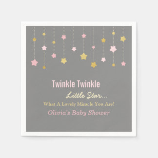 Faux Gold and Pink Twinkle Little Star Grey Napkin Paper Serviettes