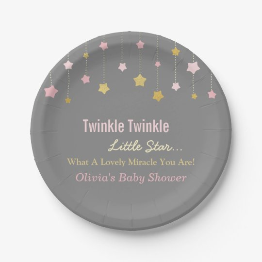 Faux Gold and Pink Twinkle Little Star Paper
