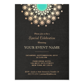 Faux Gold and Turquoise Circle Mandala Black 13 Cm X 18 Cm Invitation Card