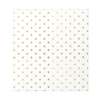 Faux Gold and White Polka Dots Notepad