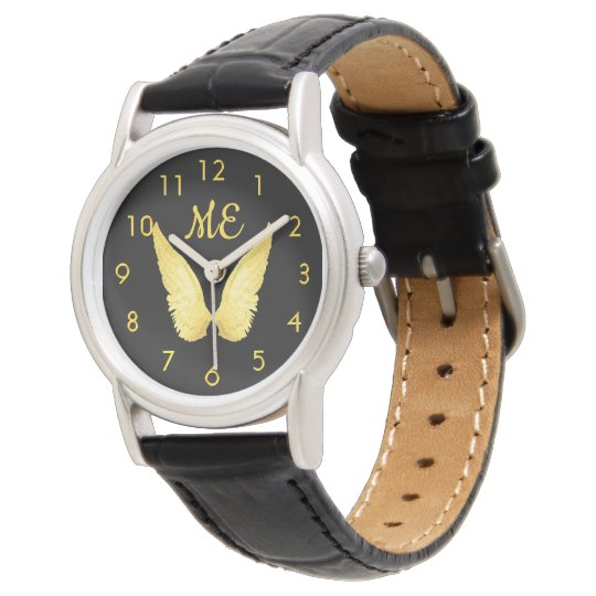 Faux gold angel wings on black monogrammed watch