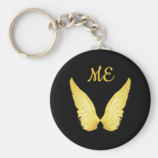 Faux gold angel wings on black with monogram