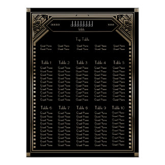 Faux Gold Art Deco Gatsby Wedding Seating Chart
