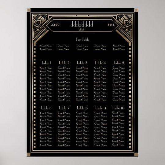 Faux Gold Art Deco Gatsby Wedding Seating Chart
