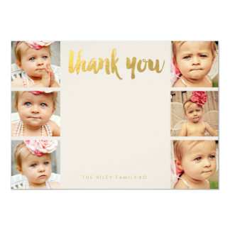 Faux Gold Baby Thank You 6 Photo Frame Flat Cards