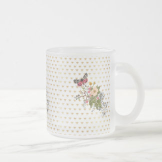 faux gold,bees,floral,whimsical,chic,dandy,cute,pa frosted glass mug