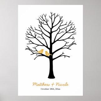 Faux Gold Birds Black Fingerprint Tree Wedding Poster
