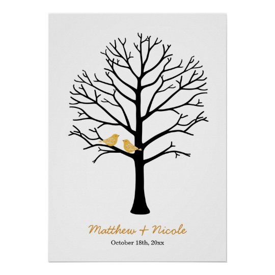 Faux Gold Birds Black Fingerprint Tree Wedding Poster