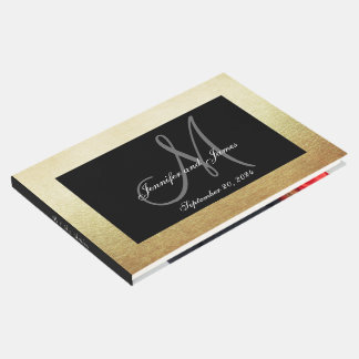 Faux Gold Black Elegant Monogram Photo Wedding Guest Book