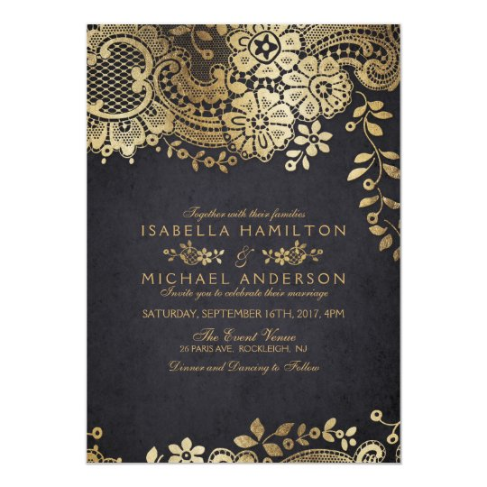 Faux gold black elegant vintage lace wedding card