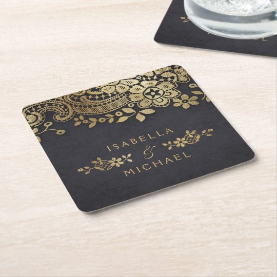 Faux gold black elegant vintage lace wedding square