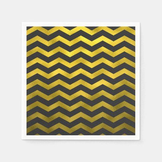 Faux Gold Black Foil Chevron Zig Zag Striped
