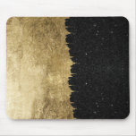 Faux Gold & Black Starry Night Brushstrokes Mouse Pad