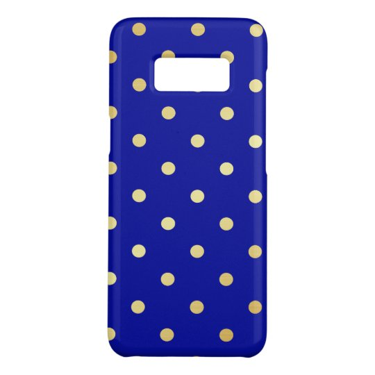 faux gold blue polka dots Case-Mate samsung galaxy s8 case