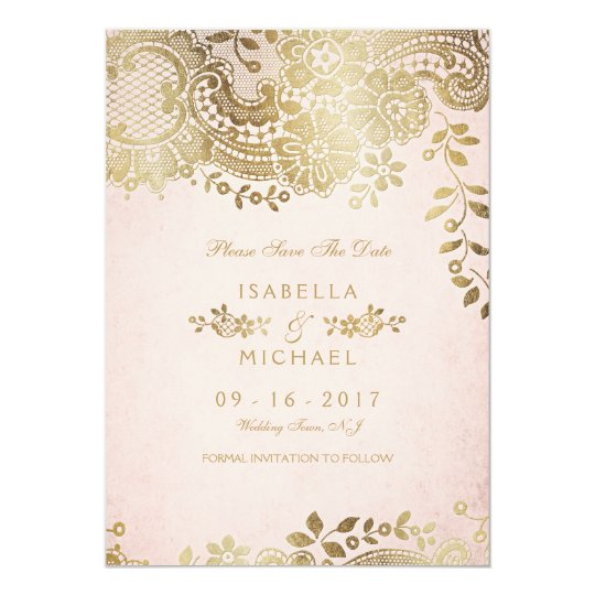 Faux gold blush elegant lace wedding save the