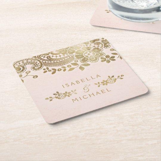 Faux gold blush elegant vintage lace wedding square