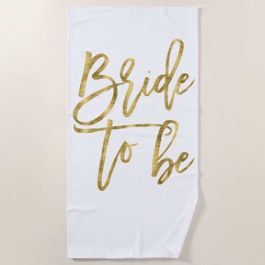 Personalised Beach Towel Pegs: Faux Gold Bride To Be Beach Towel