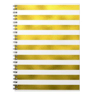 Faux Gold Bronze White Horizontal Stripes Striped Notebooks