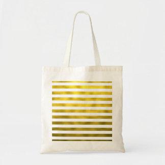 Faux Gold Bronze White Horizontal Stripes Striped Budget Tote Bag