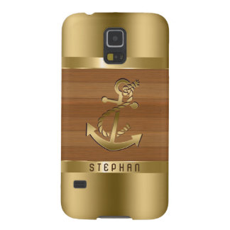 Faux Gold & Brown Wood Boat Anchor Galaxy S5 Covers