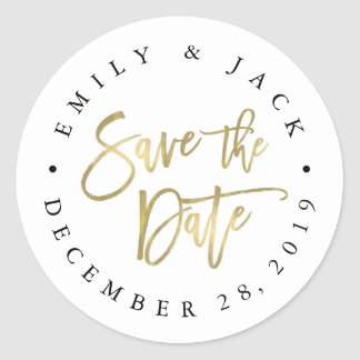 Faux Gold Brush Lettered Save the Date Round Sticker