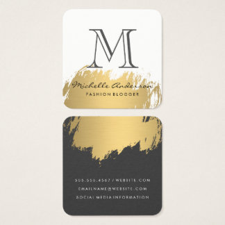 Faux Gold Brushed Monogram Square Business Card