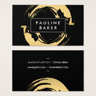Faux Gold Brushed with Black White Label Variation Business Card