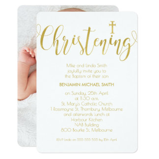 Faux Gold Calligraphy Photo Christening Invitation
