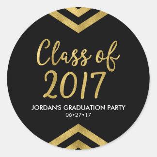 Faux Gold Chevron Class of 2017 Graduation Party Classic Round Sticker