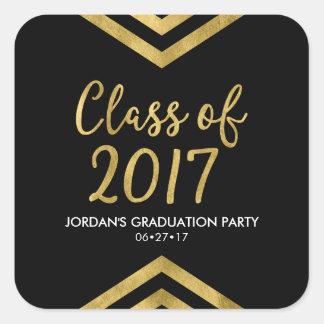 Faux Gold Chevron Class of 2017 Graduation Party Square Sticker